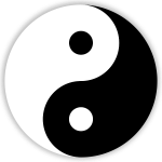 black and white yin-yang symbol