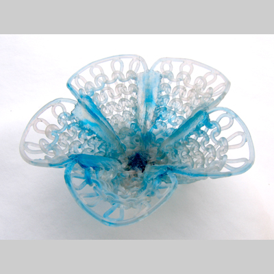 Bustle by Carol Milne - Kiln-Cast lead crystal knitted glass
